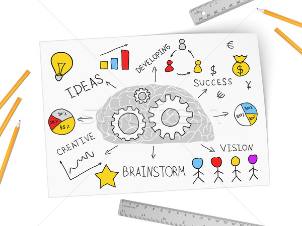 Brain works on new business by ideas Stock photo © cherezoff
