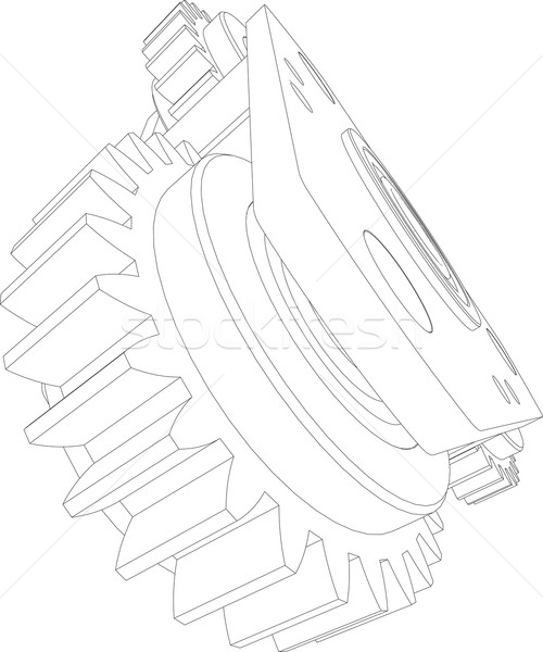 Wire-frame gears. Perspective view. Vector illustration  Stock photo © cherezoff