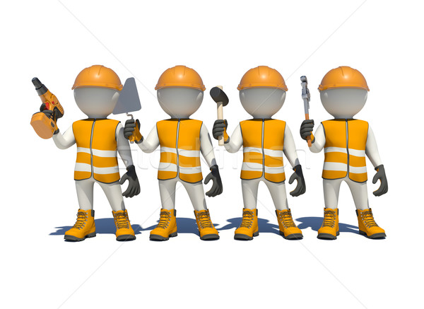White man in special clothes, shoes and helmet holding tools Stock photo © cherezoff