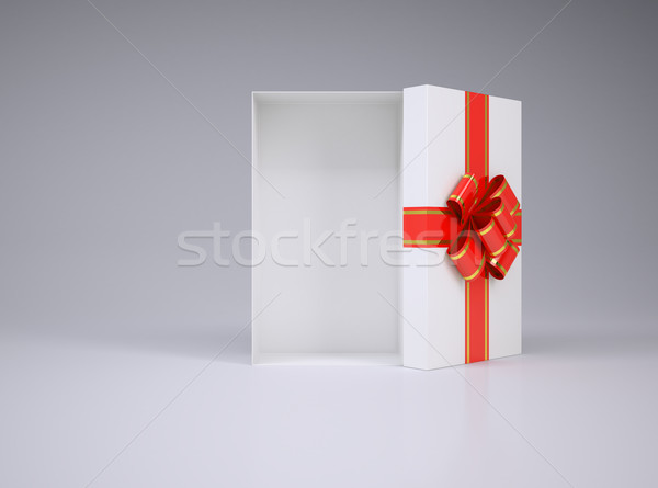 Open gift box with lid, bow and ribbon Stock photo © cherezoff