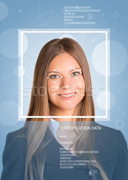Girl face with lines, frame and text. Concept of person identification Stock photo © cherezoff