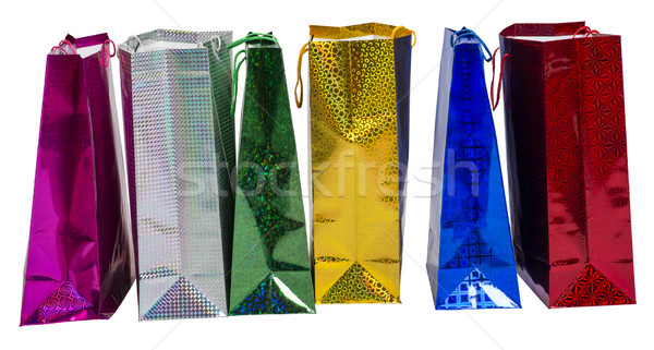 Six Colourful paper shopping bags  Stock photo © cherezoff
