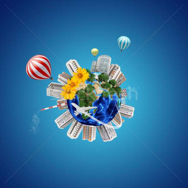 Terre modèle ville autour fleurs atomique Photo stock © cherezoff