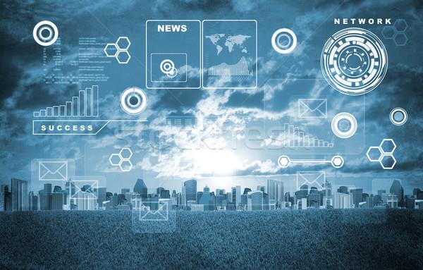 Városkép holografikus képernyő virtuális ikonok épületek Stock fotó © cherezoff