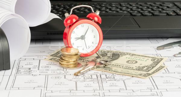 Laptop ébresztőóra pénz fekete dollár számítógép Stock fotó © cherezoff
