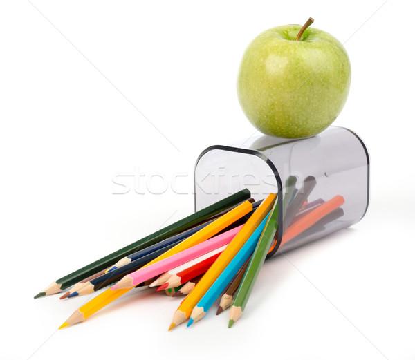 Ceruza csésze zsírkréták alma izolált fehér Stock fotó © cherezoff