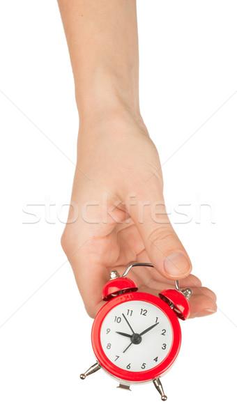 Humans hand holding alarm clock Stock photo © cherezoff