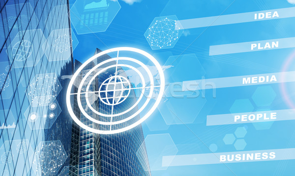 High-rise buildings with globe icon and molecules Stock photo © cherezoff