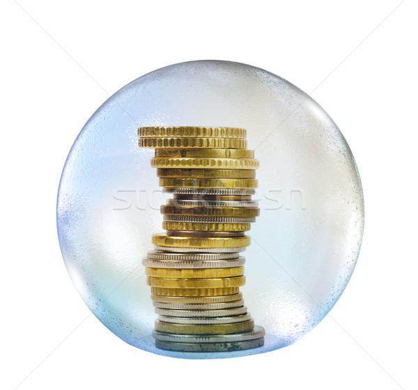 érmék szappanbuborék izolált fehér pénz labda Stock fotó © cherezoff