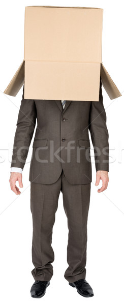 Businessman with brown box on his head Stock photo © cherezoff