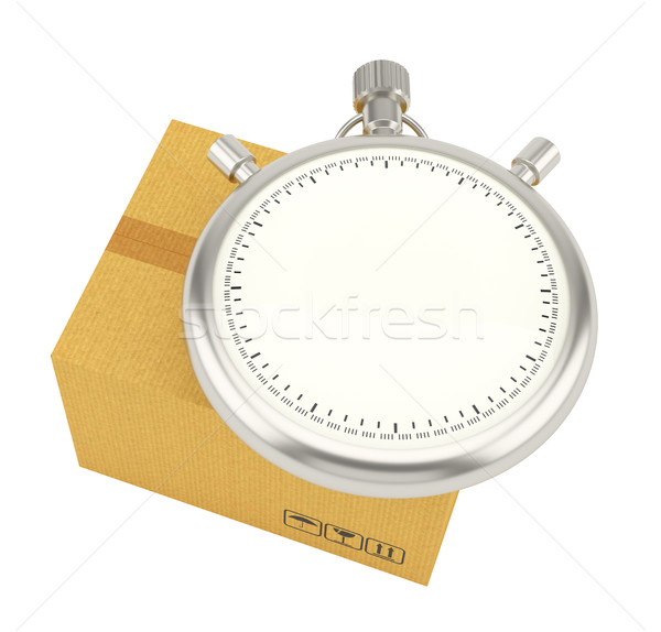 Stopwatch on background of cardboard box Stock photo © cherezoff