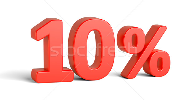 Red ten percent sign on white background Stock photo © cherezoff