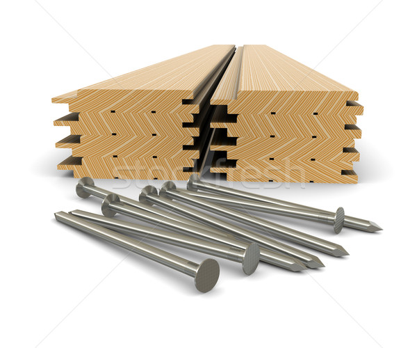 Lumber and nails - material for construction Stock photo © cherezoff