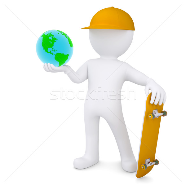 3d white man holding a skateboard and Earth Stock photo © cherezoff