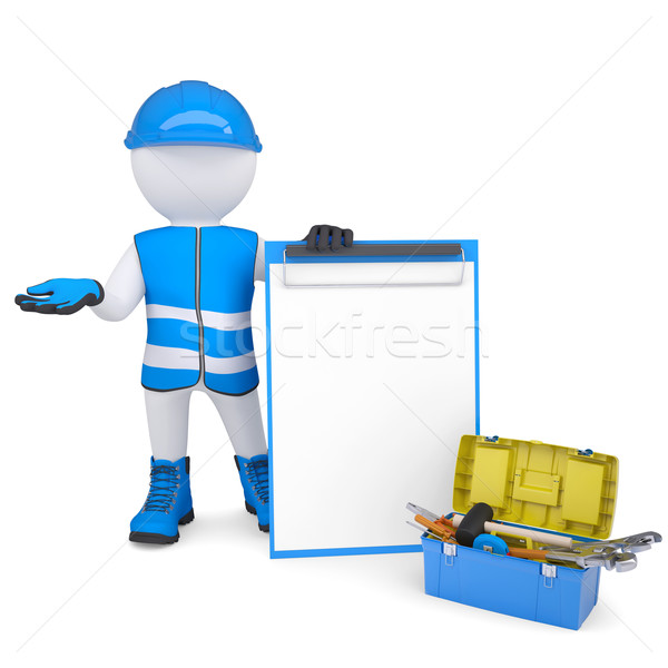 3d white man in overalls with checklists and tools Stock photo © cherezoff