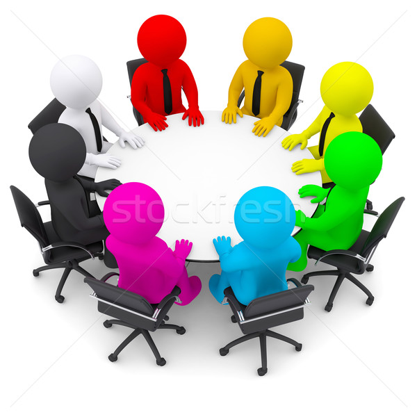 Multicolored people sitting at a round table Stock photo © cherezoff