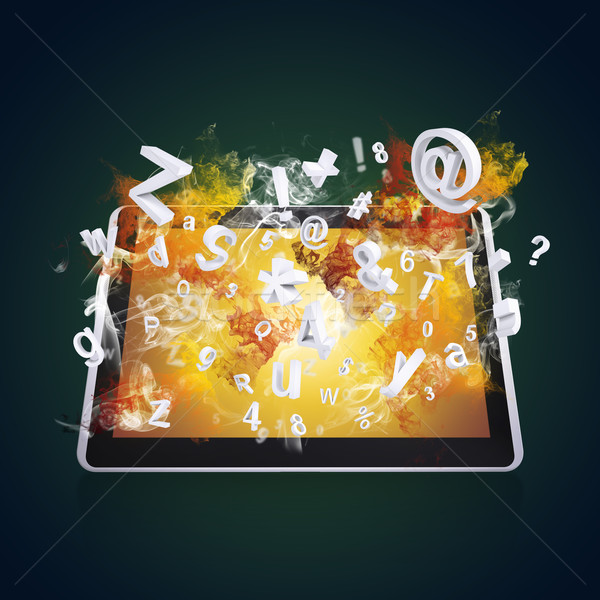 Stock photo: Tablet pc emits letters, numbers and smoke