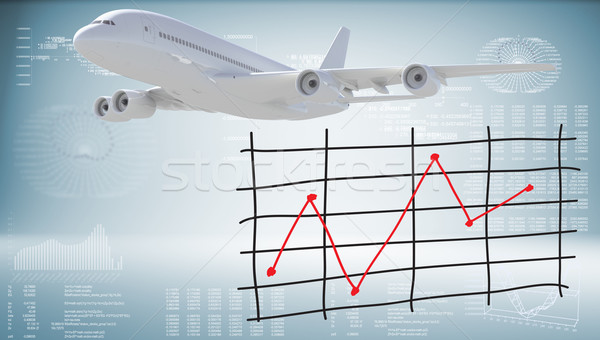 Modern airplane and graph of price changes Stock photo © cherezoff