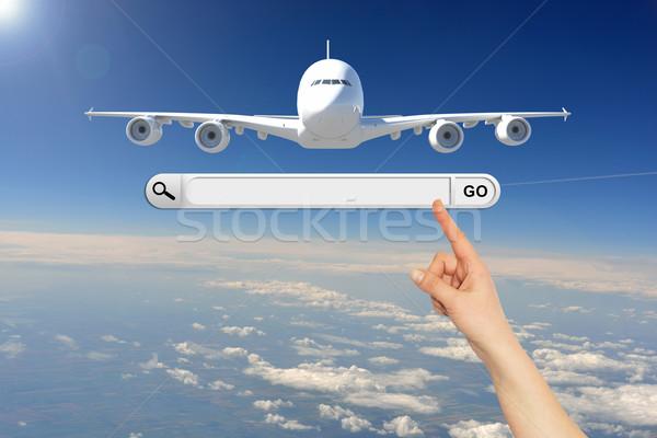 Mano humana búsqueda bar navegador avión cielo Foto stock © cherezoff