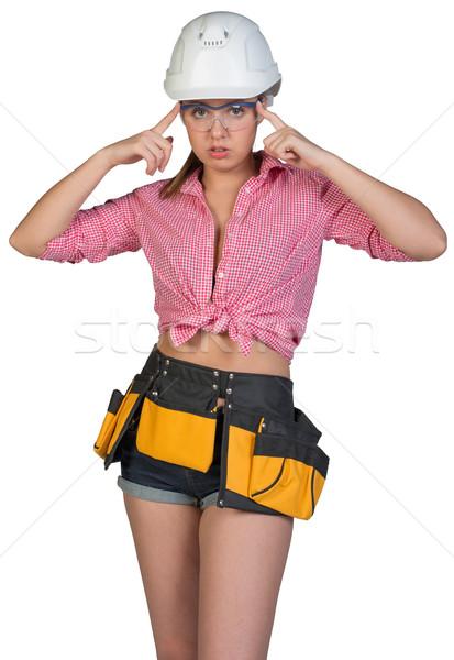 Nő szerszám öv védősisak szemüveg néz Stock fotó © cherezoff