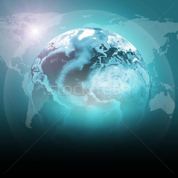 Zöld Föld földgömb kontinensek átlátszó világtérkép Stock fotó © cherezoff