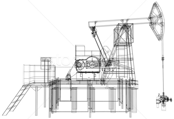 Oil pump jack. Vector rendering of 3d Stock photo © cherezoff