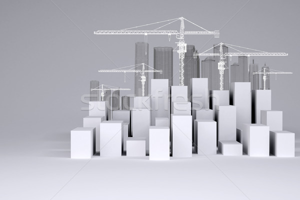 White cubes with wire-frame buildings and tower cranes Stock photo © cherezoff