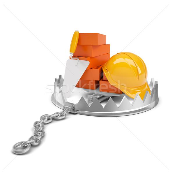 Bricks with helmet in bear trap Stock photo © cherezoff