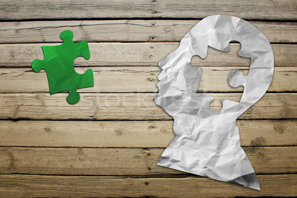 Paper humans head with green puzzle symbol Stock photo © cherezoff