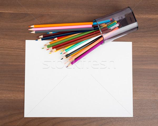 чистый лист бумаги карандашей таблице деревянный стол бумаги белый Сток-фото © cherezoff
