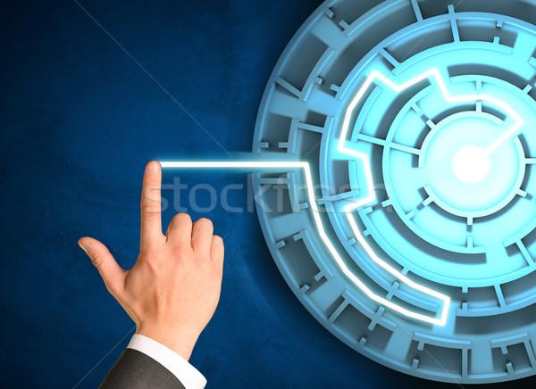 Kéz megérint holografikus képernyő labirintus Stock fotó © cherezoff