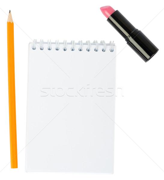 Ouvrir rouge à lèvres isolé blanche affaires Photo stock © cherezoff