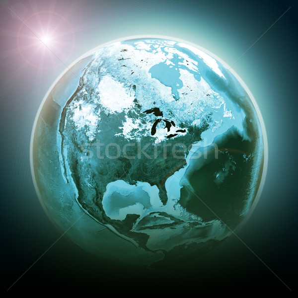 Planet earth with light Stock photo © cherezoff