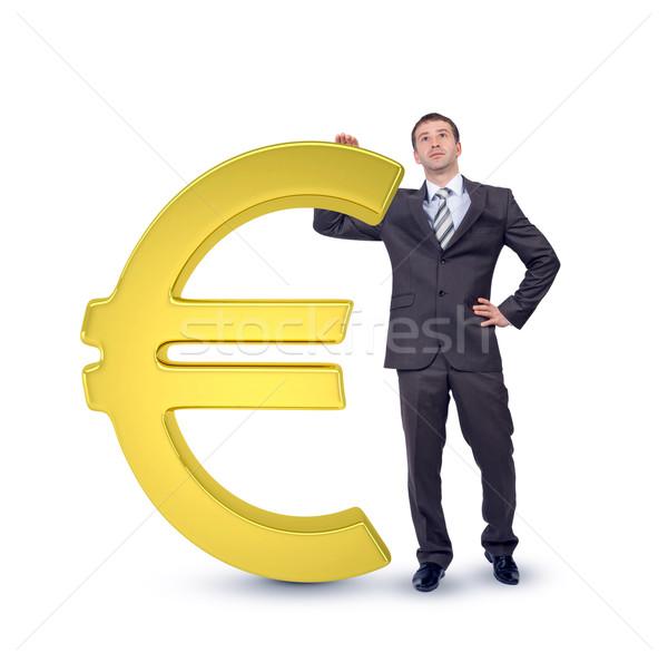 ビジネスマン ビッグ ユーロ にログイン 孤立した 白 ストックフォト © cherezoff