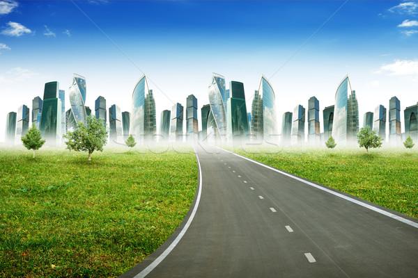 шоссе дороги город Blue Sky бизнеса трава Сток-фото © cherezoff