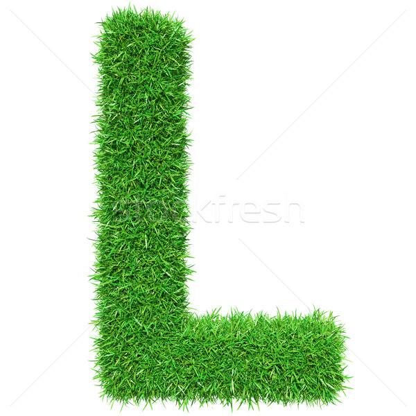 Groen gras letter l geïsoleerd witte doopvont ontwerp Stockfoto © cherezoff