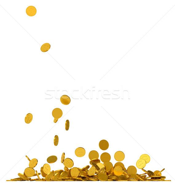 Zuhan arany érmék fehér 3d illusztráció terv háttér Stock fotó © cherezoff