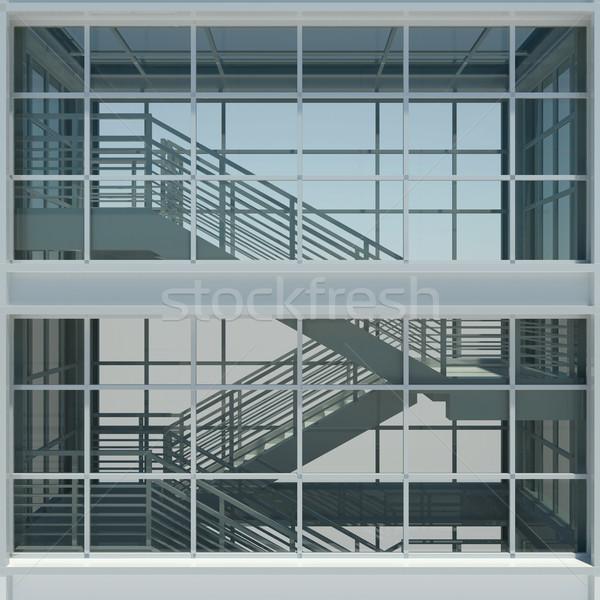 Architecture escalier fen tres rendu 3d haut for Architecture 3d vue 3d