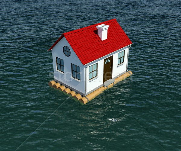 Stock photo: House on wooden raft floats on water