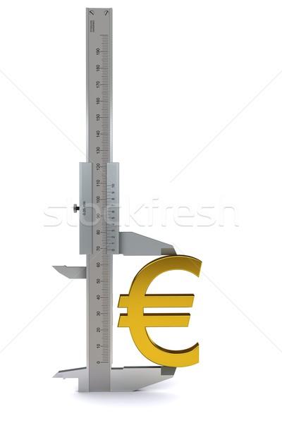 Caliper measures the golden euro sign. 3D rendering Stock photo © cherezoff