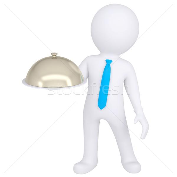 3D blanke man kom hand geïsoleerd Stockfoto © cherezoff