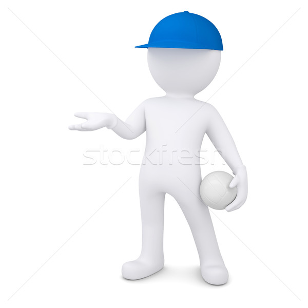 3d man with volleyball ball holds out empty hand Stock photo © cherezoff