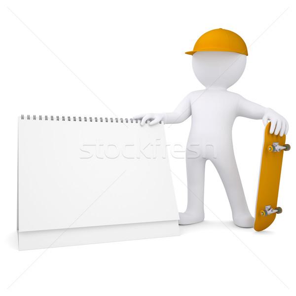 3D blanke man skateboard kalender geïsoleerd Stockfoto © cherezoff