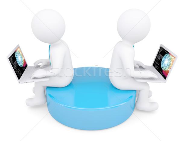 Foto stock: Dois · branco · o · homem · 3d · sessão · laptops · isolado