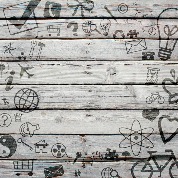 Various social icons on old wooden surface Stock photo © cherezoff