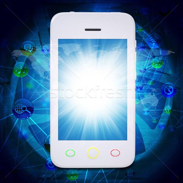 ストックフォト: スマートフォン · 世界中 · アプリケーション · アイコン · グラフィックス · 携帯