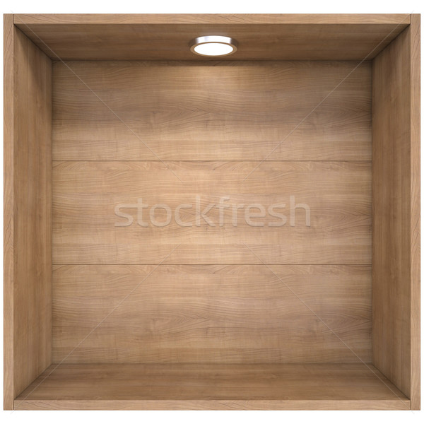 Wooden shelf with a light source Stock photo © cherezoff