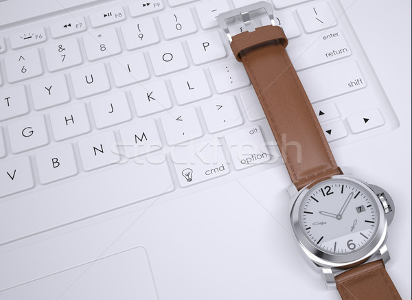 Watch on the keyboard Stock photo © cherezoff