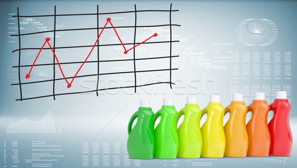 Bottles household chemicals and graph of price changes Stock photo © cherezoff