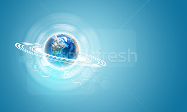 Earth and hexagons with icons Stock photo © cherezoff